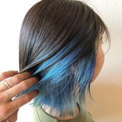 ボブ ブルー モード ブルーアッシュ ヘアスタイルや髪型の写真・画像