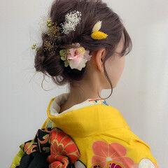 ヘアアレンジ 成人式ヘアメイク着付け 成人式カラー ナチュラル ヘアスタイルや髪型の写真・画像