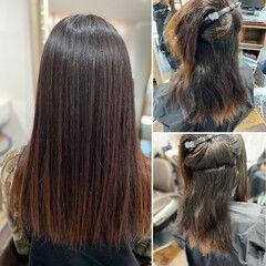頭皮改善 縮毛矯正 エレガント ロング ヘアスタイルや髪型の写真・画像
