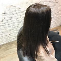 暗髪 ストレート アッシュ セミロング ヘアスタイルや髪型の写真・画像
