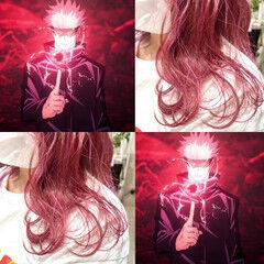 ピンクベージュ ミディアム ベリーピンク ピンク ヘアスタイルや髪型の写真・画像