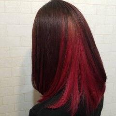 ロング インナーカラーレッド 縮毛矯正名古屋市 ストリート ヘアスタイルや髪型の写真・画像