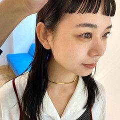 ショートバング ショートバング オン眉 前髪 ヘアスタイルや髪型の写真・画像