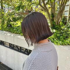 アッシュグレージュ ボブ 透明感カラー ミニボブ ヘアスタイルや髪型の写真・画像