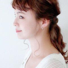 ナチュラル 簡単ヘアアレンジ セミロング ブリーチカラー ヘアスタイルや髪型の写真・画像