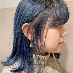 ブルーバイオレット ネイビーブルー ストリート ミディアム ヘアスタイルや髪型の写真・画像