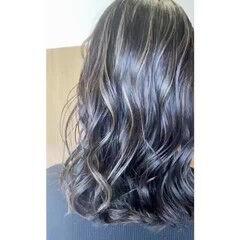 波巻き ミディアム エレガント インナーカラー ヘアスタイルや髪型の写真・画像
