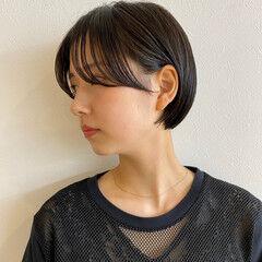 ショートボブ ナチュラル ショートヘア シースルーバング ヘアスタイルや髪型の写真・画像