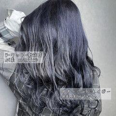 デート モード ネイビーアッシュ ロング ヘアスタイルや髪型の写真・画像
