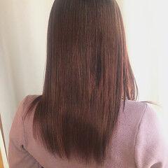 ロング ラベンダーピンク 艶カラー ナチュラル ヘアスタイルや髪型の写真・画像