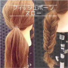セルフヘアアレンジ セミロング ガーリー フィッシュボーン動画 ヘアスタイルや髪型の写真・画像