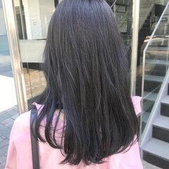 ネイビージュ ブリーチなし ナチュラル ロング ヘアスタイルや髪型の写真・画像