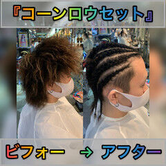 メンズヘア ショート ブレイズ コーンロウ ヘアスタイルや髪型の写真・画像