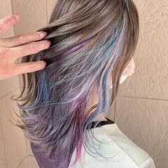 ユニコーンカラー インナーカラー セミロング デザインカラー ヘアスタイルや髪型の写真・画像