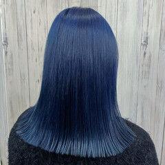 モテ髪 ブルー トレンド ミディアム ヘアスタイルや髪型の写真・画像
