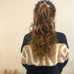 ヘアセット ポニーテールアレンジ ヘアアレンジ 結婚式 ヘアスタイルや髪型の写真・画像