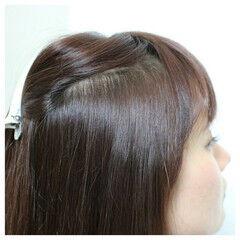 縮毛矯正 前髪あり ロング ナチュラル ヘアスタイルや髪型の写真・画像