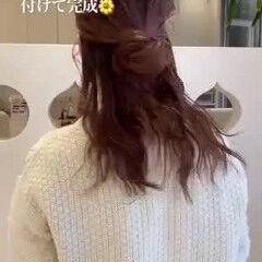 愛され セミロング セルフアレンジ フェミニン ヘアスタイルや髪型の写真・画像