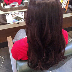 レッド ナチュラル ピンク セミロング ヘアスタイルや髪型の写真・画像