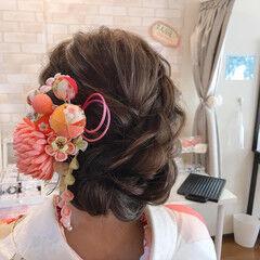 結婚式 振袖 成人式 フェミニン ヘアスタイルや髪型の写真・画像