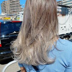 エレガント ロング スライシングハイライト ホワイトハイライト ヘアスタイルや髪型の写真・画像