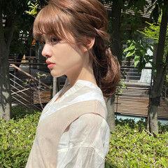 簡単ヘアアレンジ ヘアアレンジ ナチュラル 編みおろし ヘアスタイルや髪型の写真・画像