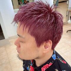 ピンクバイオレット ストリート ショート ピンク ヘアスタイルや髪型の写真・画像