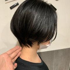 黒髪ショート ショート ショートボブ 斜め前髪 ヘアスタイルや髪型の写真・画像