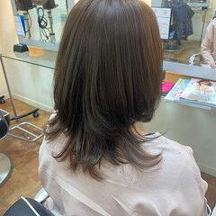 ミディアム 美シルエット ピンク フェミニン ヘアスタイルや髪型の写真・画像