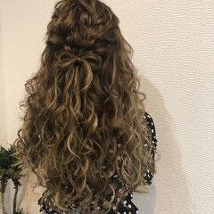 ロング りぼん 編み込み リボンアレンジ ヘアスタイルや髪型の写真・画像