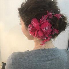 大人女子 ねじり 結婚式 ロング ヘアスタイルや髪型の写真・画像