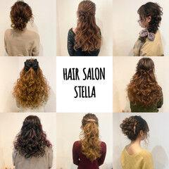 ヘアセット ハーフアップ 結婚式 セミロング ヘアスタイルや髪型の写真・画像