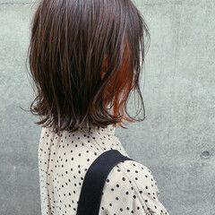 オレンジカラー 切りっぱなしボブ オレンジ インナーカラーオレンジ ヘアスタイルや髪型の写真・画像
