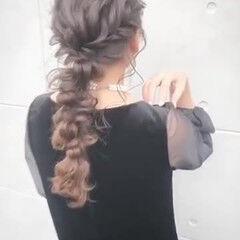 結婚式ヘアアレンジ 編みおろし 編みおろしヘア ガーリー ヘアスタイルや髪型の写真・画像
