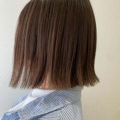 ベージュ ナチュラルベージュ ボブ シアーベージュ ヘアスタイルや髪型の写真・画像