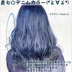 デート デニム セミロング ブリーチ ヘアスタイルや髪型の写真・画像