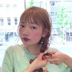 フェミニン リラックス 簡単ヘアアレンジ セミロング ヘアスタイルや髪型の写真・画像