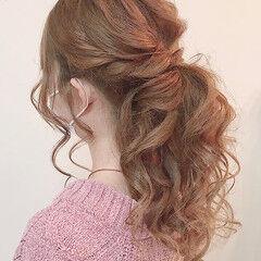 ナチュラル ポニーテールアレンジ ふわふわヘアアレンジ ヘアアレンジ ヘアスタイルや髪型の写真・画像