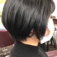 デート ショートボブ 大人かわいい ナチュラル ヘアスタイルや髪型の写真・画像