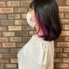 イルミナカラー カラーバター ミディアム ブリーチ ヘアスタイルや髪型の写真・画像