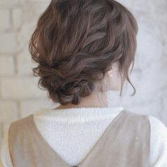 ヘアアレンジ ミディアム 逆三角形 フェミニン ヘアスタイルや髪型の写真・画像