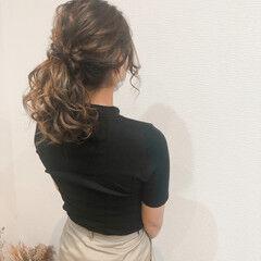 フェミニン ポニーテールアレンジ ヘアセット ミディアム ヘアスタイルや髪型の写真・画像