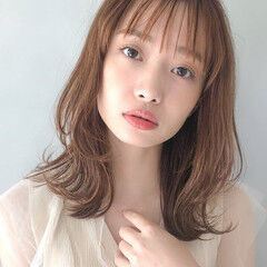 ガーリー 大人かわいい セミロング アンニュイほつれヘア ヘアスタイルや髪型の写真・画像
