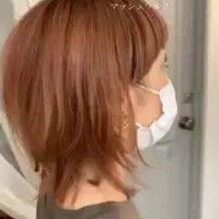 ゆるふわ ハイライト ミディアム モード ヘアスタイルや髪型の写真・画像