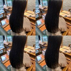 ナチュラル ロング 縮毛矯正 ワンレングス ヘアスタイルや髪型の写真・画像