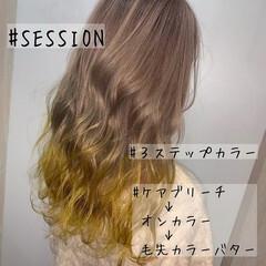 セミロング ガーリー ハイトーン ハニーイエロー ヘアスタイルや髪型の写真・画像