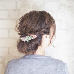 花嫁 結婚式 ヘアアレンジ セミロング ヘアスタイルや髪型の写真・画像