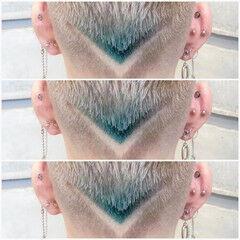 ブルー 刈り上げ メンズショート ストリート ヘアスタイルや髪型の写真・画像