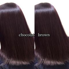 ラベンダーカラー ヘアカラー ショコラブラウン 大人可愛い ヘアスタイルや髪型の写真・画像