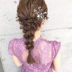 ヘアアレンジ 編みおろしヘア 編みおろし 結婚式髪型